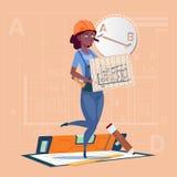 Cartoon Builder Woman Hold Plan Of Building Blueprint Wearing Uniform And Helmet Mix Race Construction Worker Contractor. Flat Vector Illustration Stock Photography