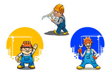 Cartoon builders anf engineer with tools Stock Image
