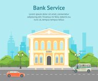 Cartoon Building Bank on a City Landscape Background Card Poster. Vector. Cartoon Building Bank on a City Landscape Background Card Poster Urban Architecture royalty free illustration