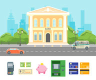 Cartoon Building Bank on a City Landscape Background. Vector Royalty Free Stock Images