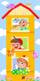 Cartoon building with cute children Stock Photo