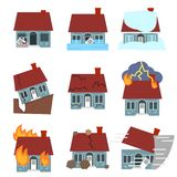 Cartoon Building Disasters Destruction Icons Set. Vector. Cartoon Building Disasters Destruction Icon Set Include of Fire, Earthquake, Hurricane and Flood Flat Stock Image