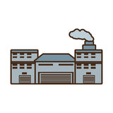 Cartoon building industry factory chimney front. Illustration eps 10 Royalty Free Stock Photography