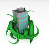 Cartoon Building Overgrowth. Cartoon 3d overgrown building model, over white Stock Images