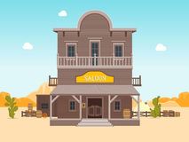 Cartoon Building Saloon on a Landscape Background. Vector. Cartoon Building Saloon on a Wild West Landscape Background Wooden Old House Cowboy Bar Flat Style stock illustration