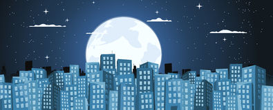 Cartoon Buildings Background In The Moonlight. Illustration of a blue cartoon big city with buildings banner at night when people are asleep Stock Image