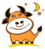 Cartoon bull. Isolated on a white background. Zodiac star sign Stock Image