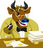 Cartoon bull is businessman. Vector illustration stock illustration