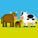 Cartoon Bull, Cow and Cald On A FIeld Stock Image