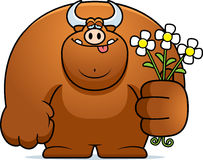 Cartoon Bull Flowers Royalty Free Stock Images