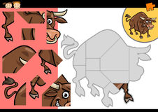 Cartoon bull jigsaw puzzle game Royalty Free Stock Photo