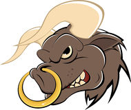 Cartoon Bull with Nose Ring. Comic Illustration of a mad bull with large horns and a golden ring in his nose Royalty Free Stock Image