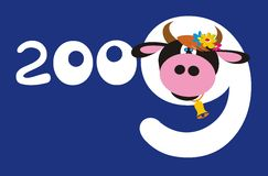 Cartoon bull with number. 2009 on blue background Royalty Free Stock Image