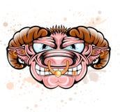 Cartoon bull sheep ram character head Stock Images