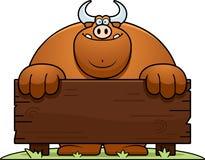 Cartoon Bull Wood Sign Stock Photos