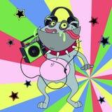 Cartoon bulldog with headphones and tape recorder Royalty Free Stock Photo