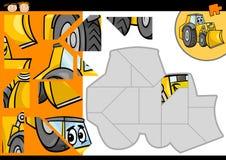 Cartoon bulldozer jigsaw puzzle game Royalty Free Stock Photography