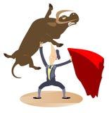 Cartoon bullfighter and the bull illustration