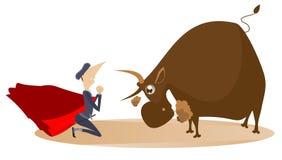 Cartoon bullfighter and angry bull illustration