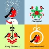 Cartoon bullfinches. Vector illustrations. Collection of Christmas cards with cartoon bullfinches. Vector illustrations stock illustration