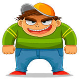 Cartoon bully. Cartoon naughty boy ready for bullying Royalty Free Stock Images
