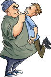 Cartoon Bully intimidating a man. Isolated Royalty Free Stock Images