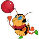 A Cartoon Bumblebee with a balloon Stock Photography
