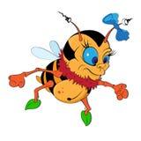 A Cartoon Bumblebee with a bow Stock Photos