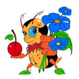 A Cartoon Bumblebee with flowers and cherry Royalty Free Stock Photo