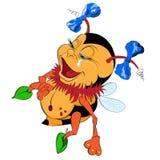 A Cartoon Bumblebee with two bows Stock Photos