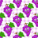 Cartoon Bunch Grapes Seamless Pattern Stock Photos