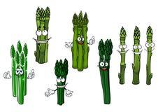 Cartoon bundles of green asparagus vegetables Stock Image