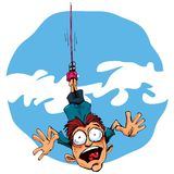 Cartoon bungee jumper falling in fear Stock Image