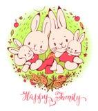 Cartoon Bunnies family. Illustration of funny cartoon Bunnies family. Hand-drawn illustration. Vector Stock Photo