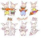 Cartoon Bunnies. Illustration of funny cartoon Bunnies with carrots. Hand-drawn illustration. Vector set Stock Photography