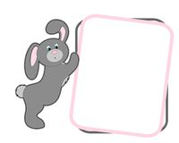 Cartoon bunny. Bunny holding empty frame isolated on white background Stock Image