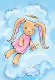 Cartoon bunny angel Stock Image