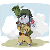 Cartoon bunny with bazooka Royalty Free Stock Image