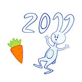 Cartoon bunny with carrot 2011. Vector illustration of cartoon bunny with carrot. Symbol of 2011 year Stock Images