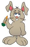 Cartoon Bunny with Carrot. Sleepy looking but happy cartoon bunny is getting ready to eat a carrot Stock Photo