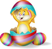 Cartoon bunny come out from Easter egg Royalty Free Stock Photography