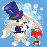Cartoon bunny conjurer Stock Photography