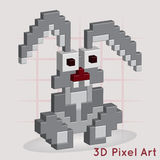 Cartoon Bunny. 3D Pixel Art. Stock Photography