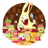 Cartoon bunny eats jam Stock Photography