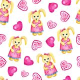 Cartoon bunny girl in a pink dress holding a heart in her hands. Seamless pattern. Hand watercolor illustration isolated