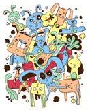 Cartoon bunny illustration. Colorful cartoon bunny illustration. Cute doodle animals royalty free illustration