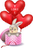 Cartoon Bunny In A Gift Box Holding Red Shape Balloon Royalty Free Stock Photos