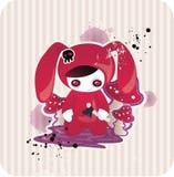 Cartoon bunny with mushrooms. Cartoon gothic girl dressed as bunny with mushrooms stock illustration