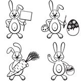 Cartoon bunny set Stock Photography