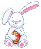 Cartoon bunny toy hugging easter eggs stock illustration